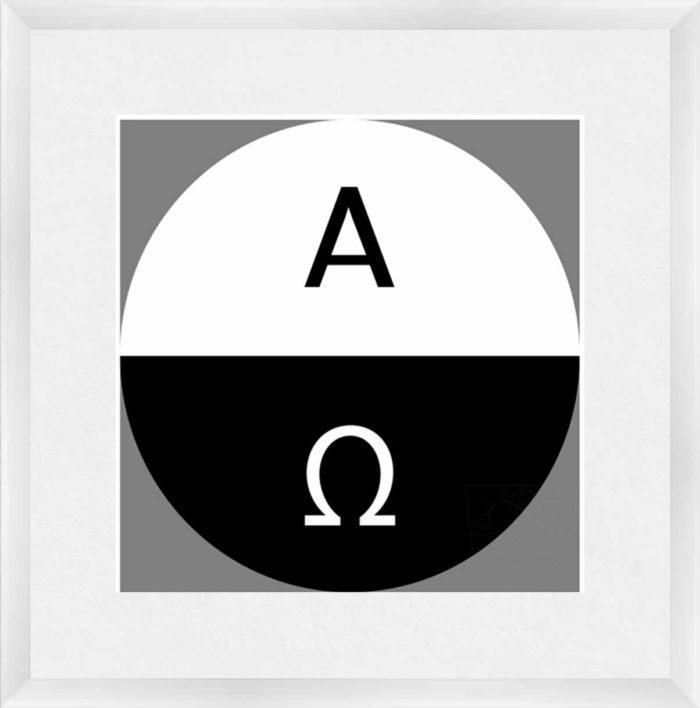 Alpha Omega gerahmt